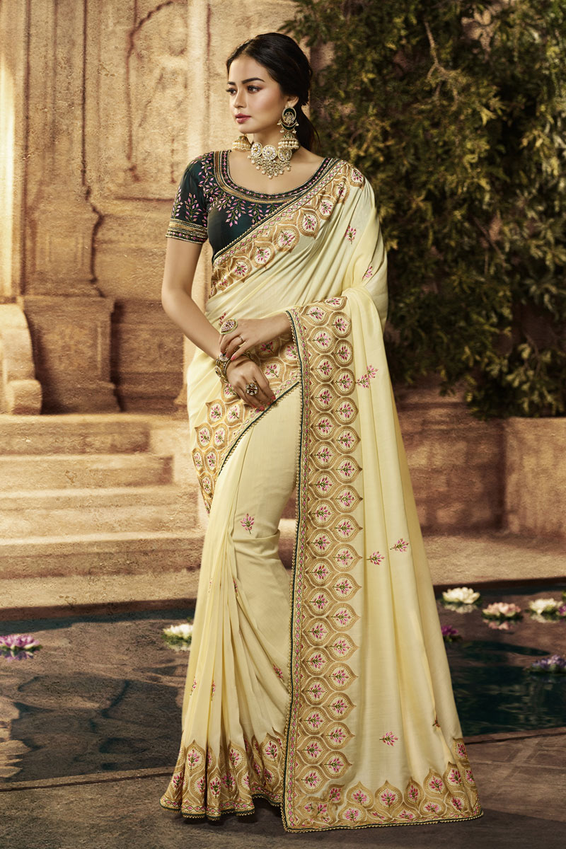 Beige Color Designer Saree In Cotton Fabric With Embroidery Designs And Attractive Blouse