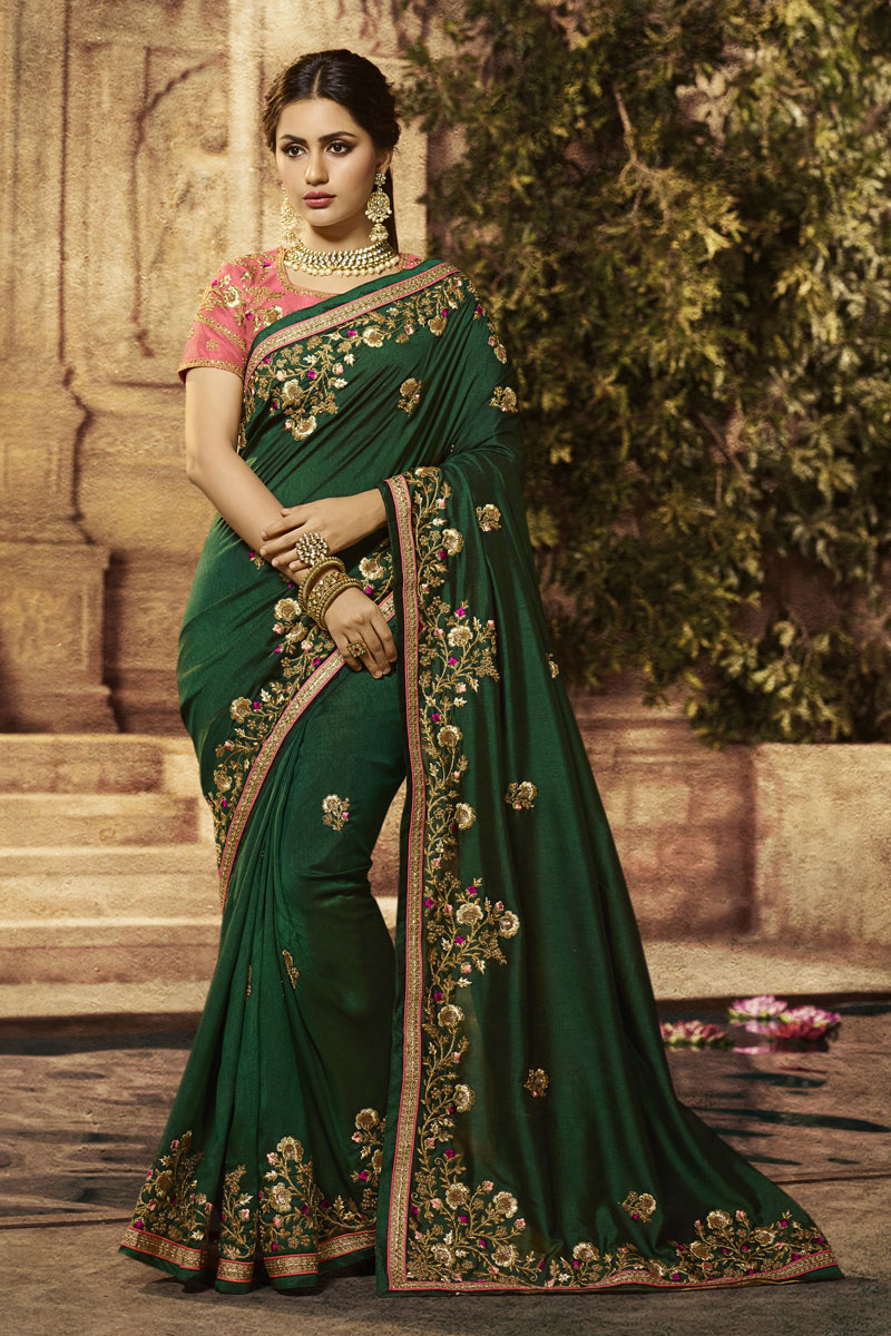 Embroidery Work On Fancy Fabric Dark Green Color Function Wear Saree With Party Wear Blouse