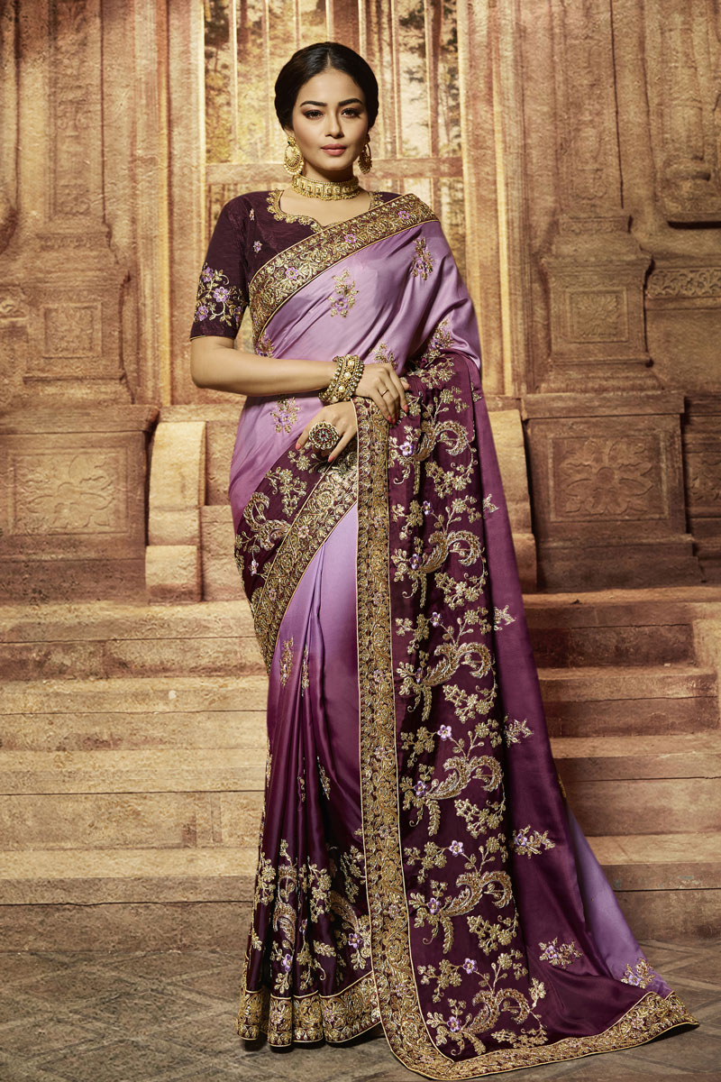 Embroidery Work On Reception Wear Saree In Art Silk Fabric Purple Color With Charming Blouse