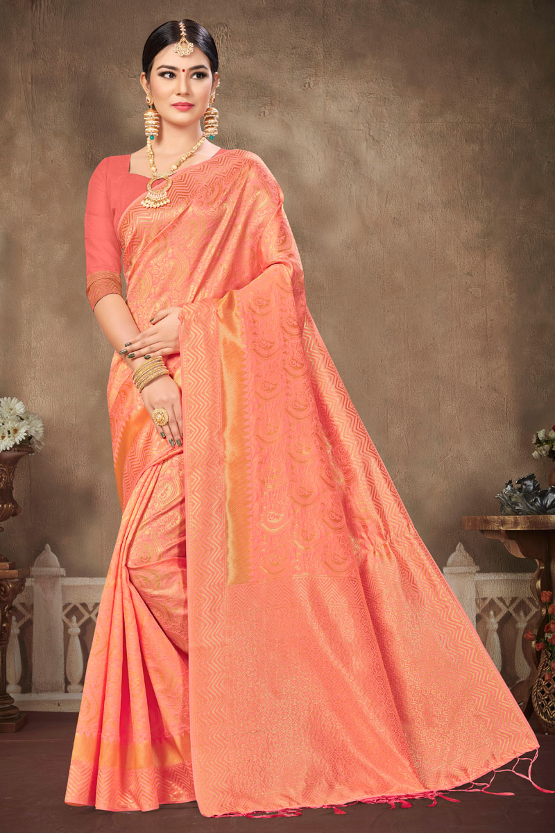 Weaving Work On Salmon Color Art Silk Fabric Party Wear Saree With Amazing Blouse