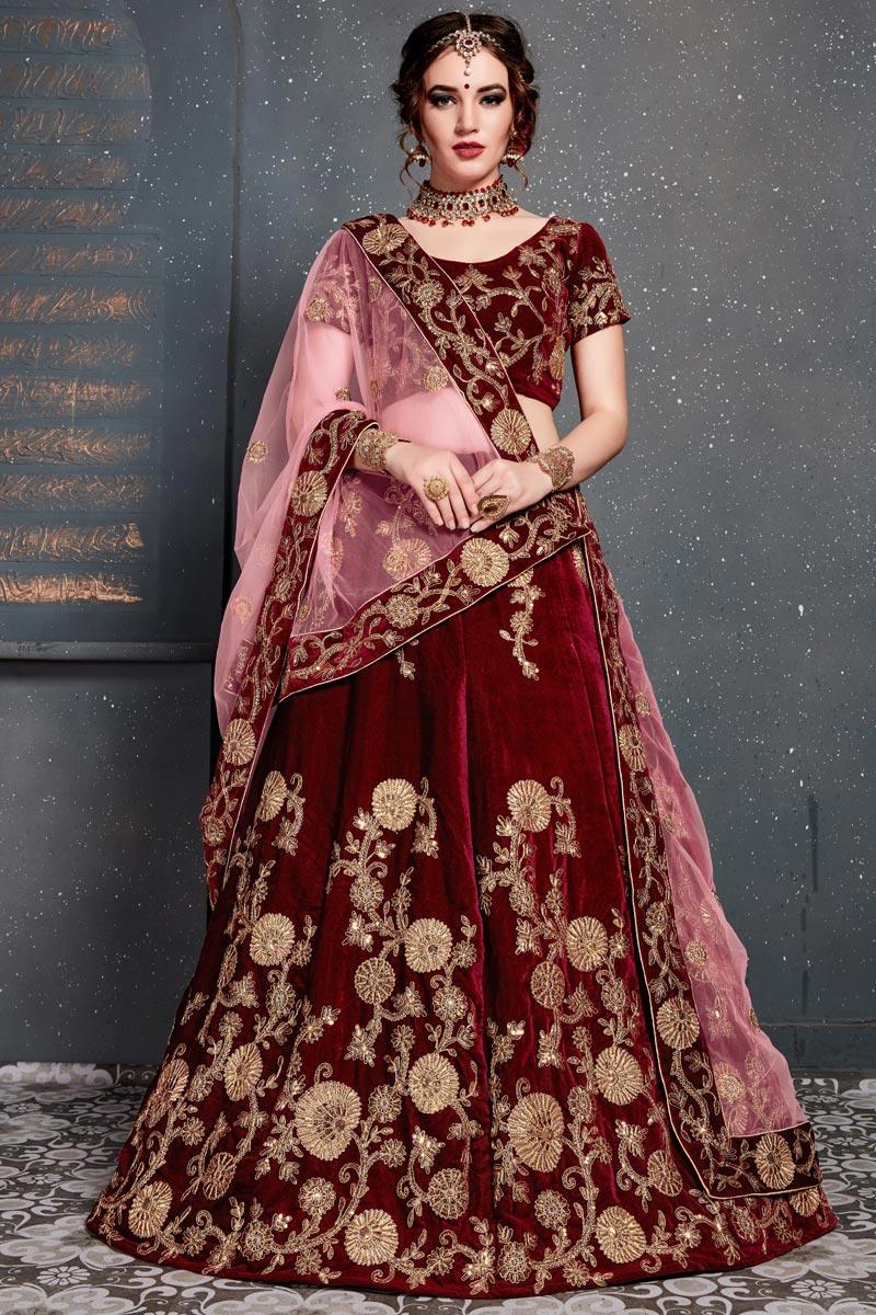 Designer Embroidered Maroon Occasion Wear Velvet Fabric Lehenga Choli