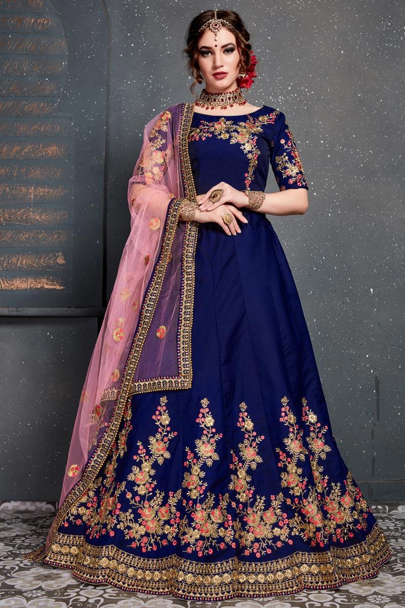 Occasion Wear Satin Silk Fabric Embroidered Navy Blue Designer Lehenga Choli