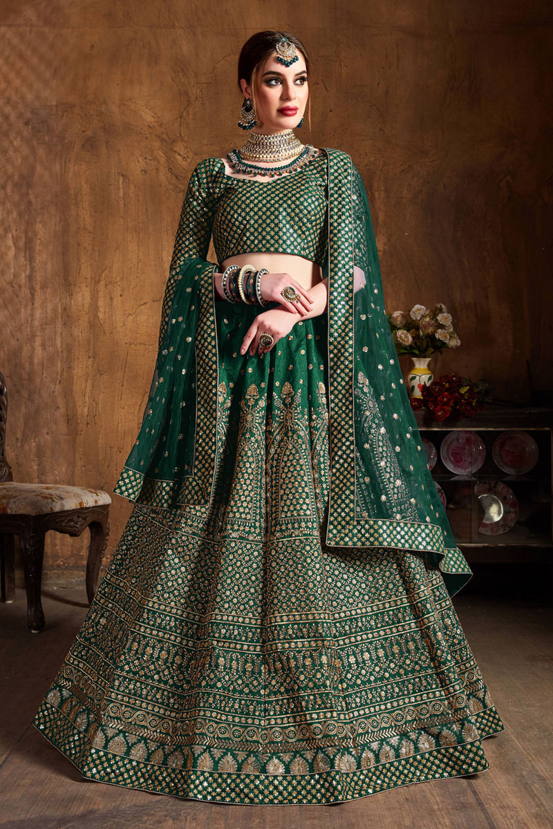Embroidered Art Silk Fabric Bridal Lehenga In Dark Green Color with Designer Choli