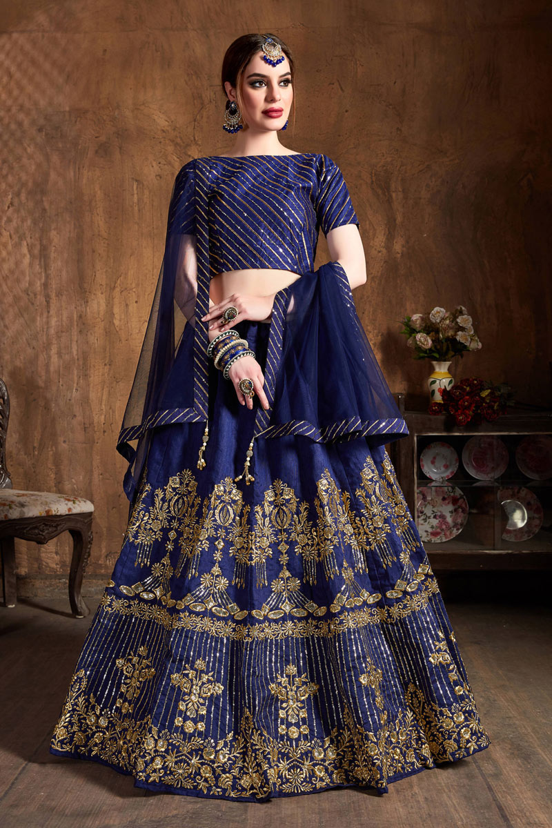 Navy Blue Color Sangeet Wear Lehenga With Embroidery Work In Art Silk Fabric