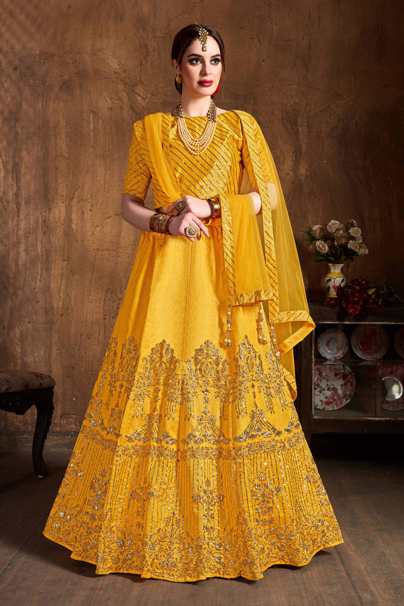 Embroidery Work On Yellow Color Designer Lehenga In Art Silk Fabric With Blouse