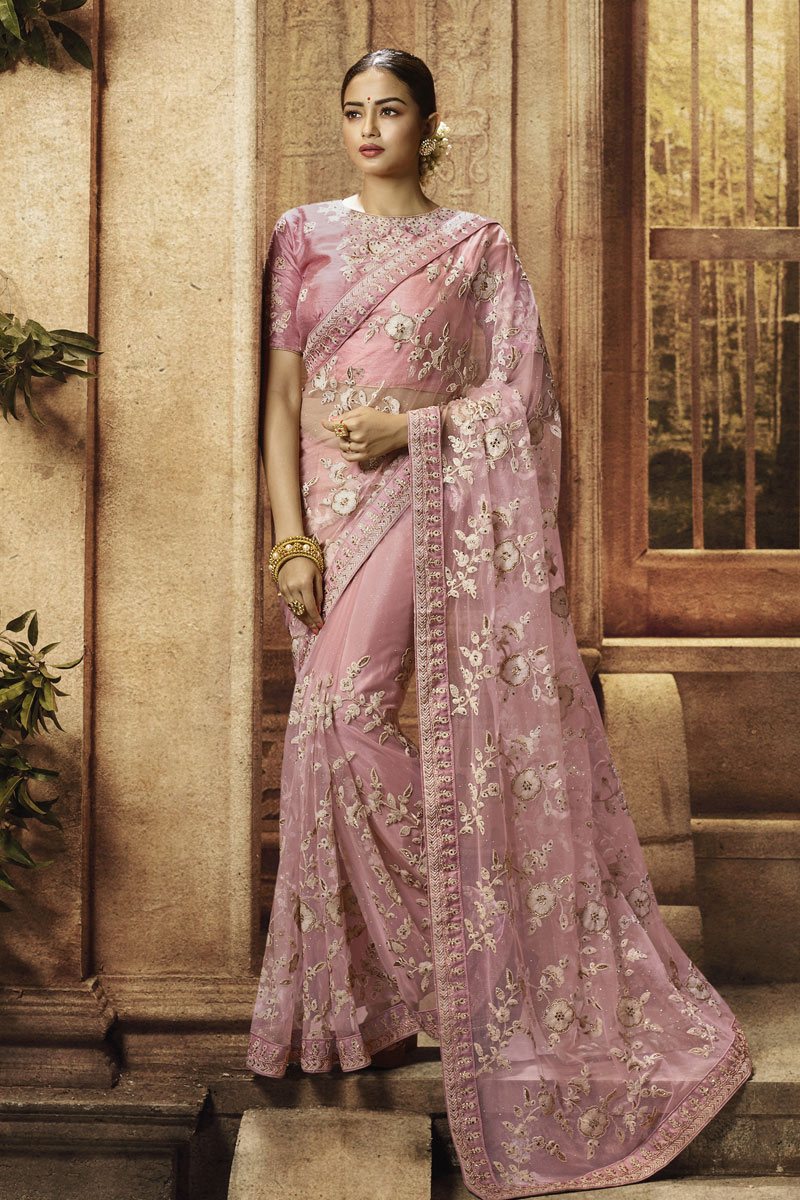 Embroidery Work On Net Fabric Pink Color Saree For Mehendi Ceremony