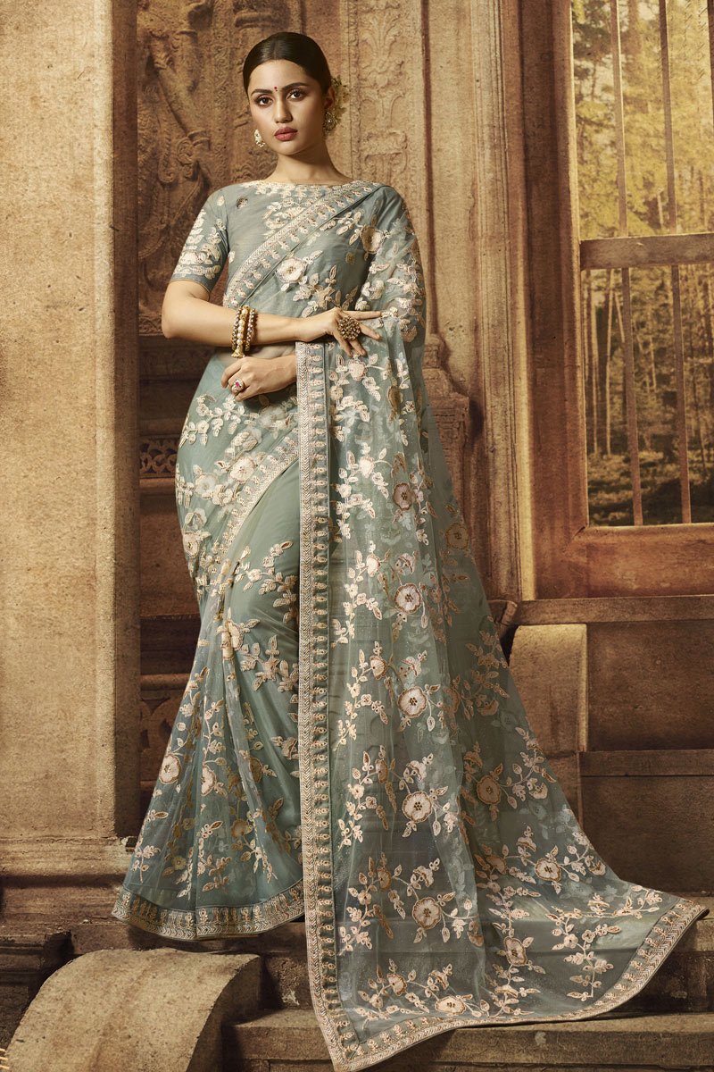 Traditional Grey Color Saree In Net Fabric With Embroidery Work For Wedding Function