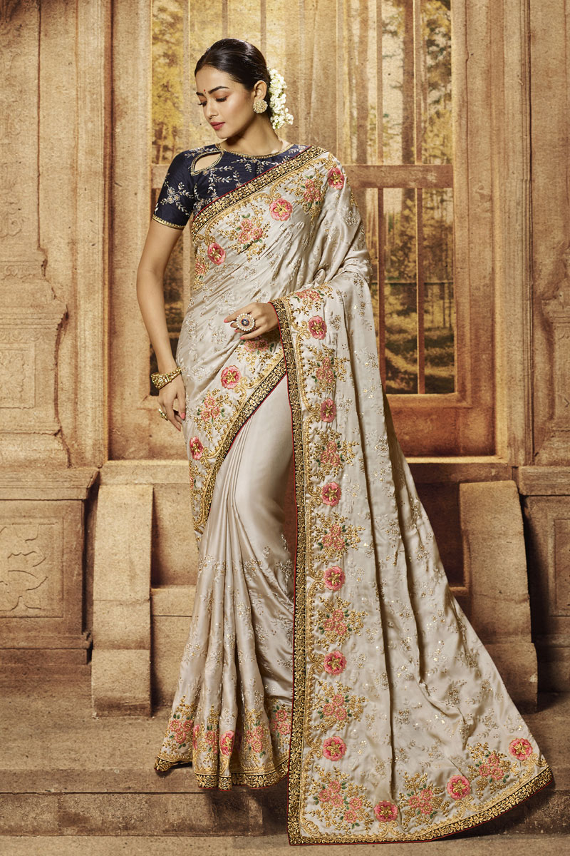 Embroidery Work On Satin Fabric Party Wear Saree In Cream Color With Beautiful Blouse
