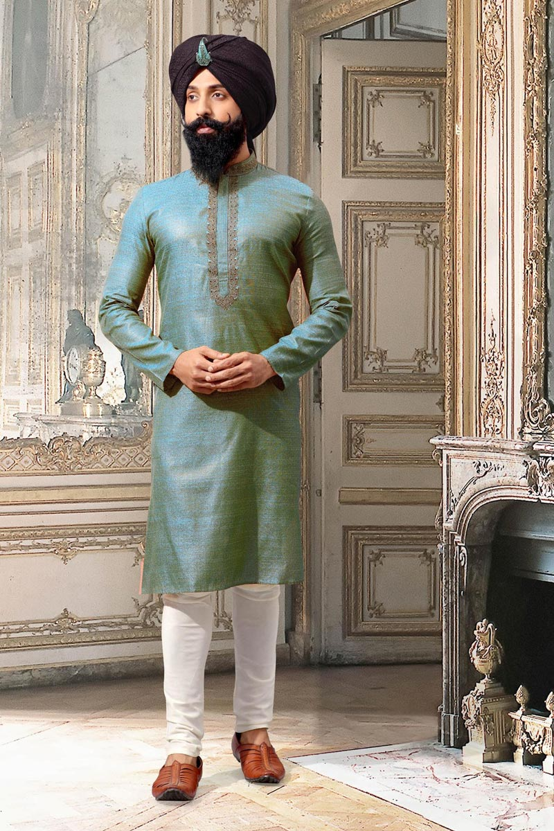 Cyan Jacquard Function Wear Kurta Pyjama For Men