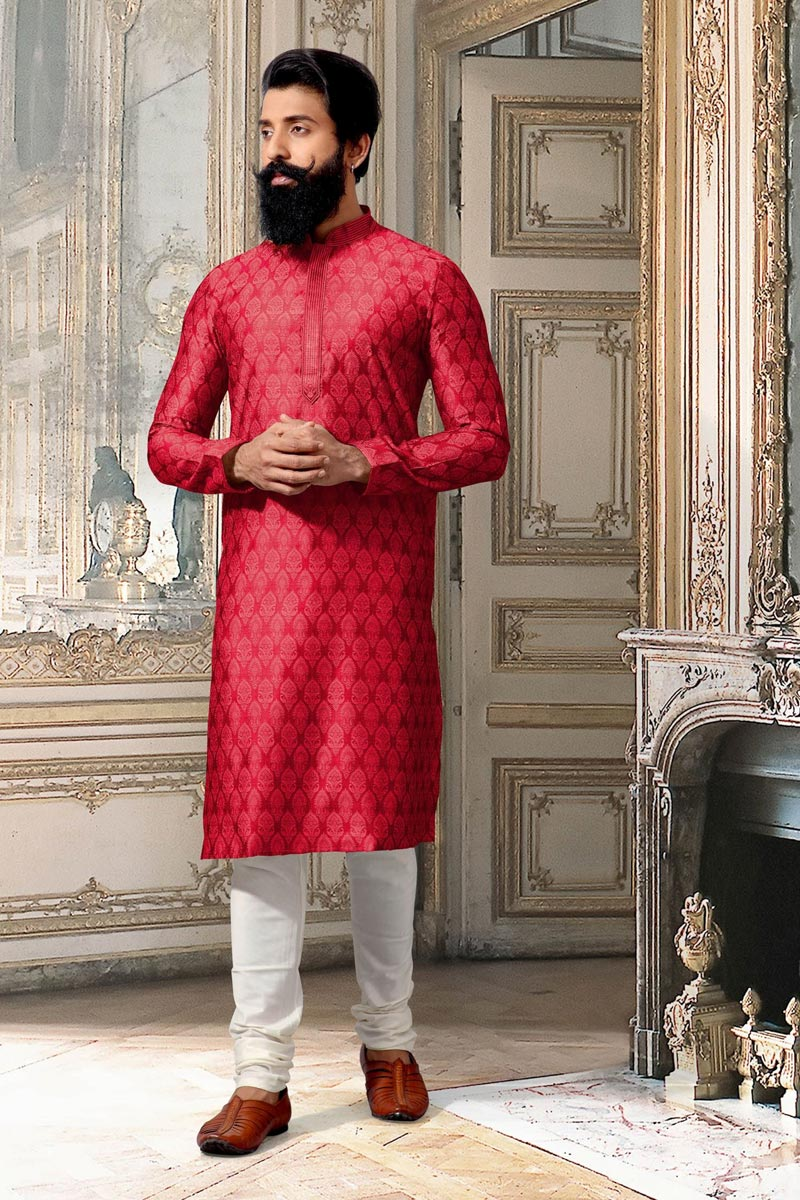 Function Wear Red Mens Kurta Pyjama