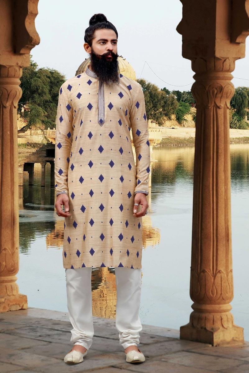 Function Wear Cream Color Kurta Pyjama In Fancy Viscose Fabric For Men