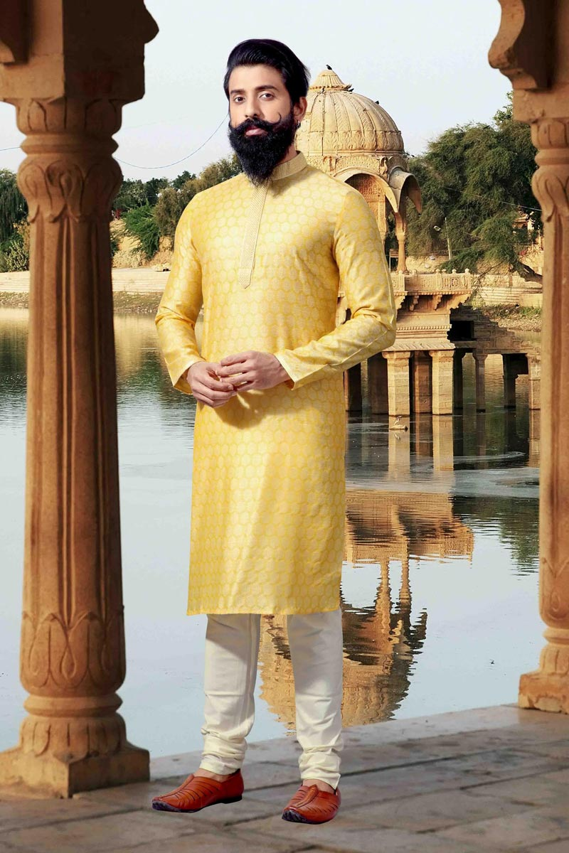 Function Wear Mens Fancy Kurta Pyjama In Yellow