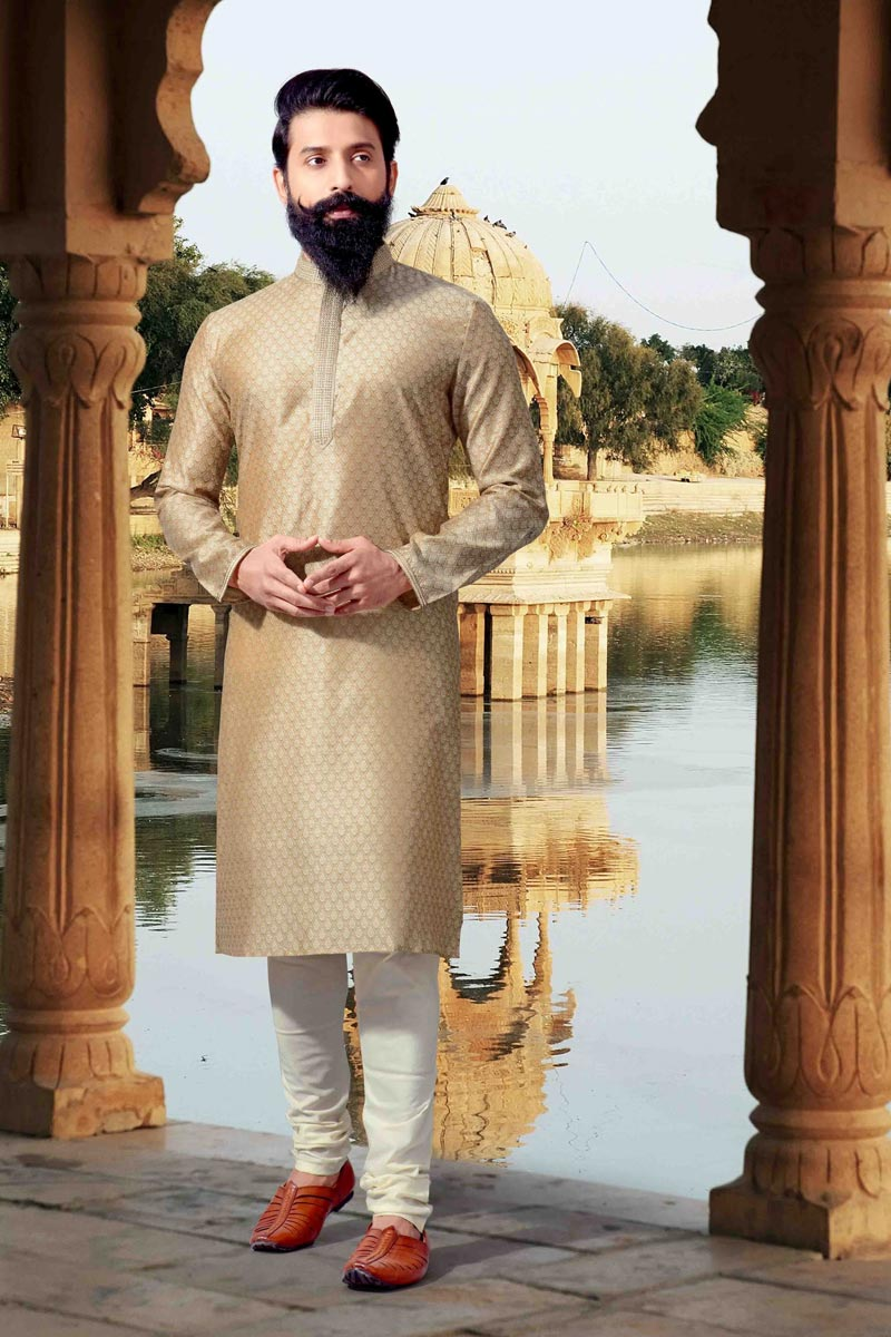 Cream Jacquard Fabric Function Wear Kurta Pyjama For Men
