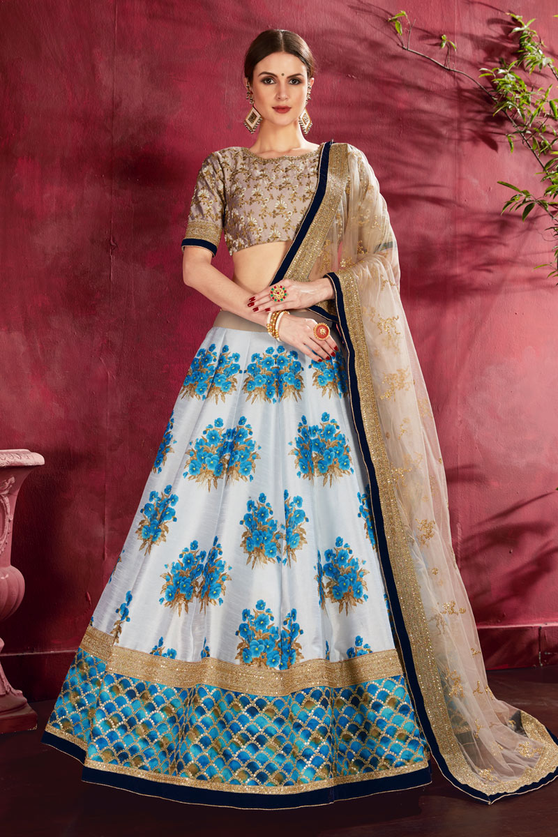 Off White Color Art Silk Fabric Wedding Wear 3 Piece Lehenga Choli