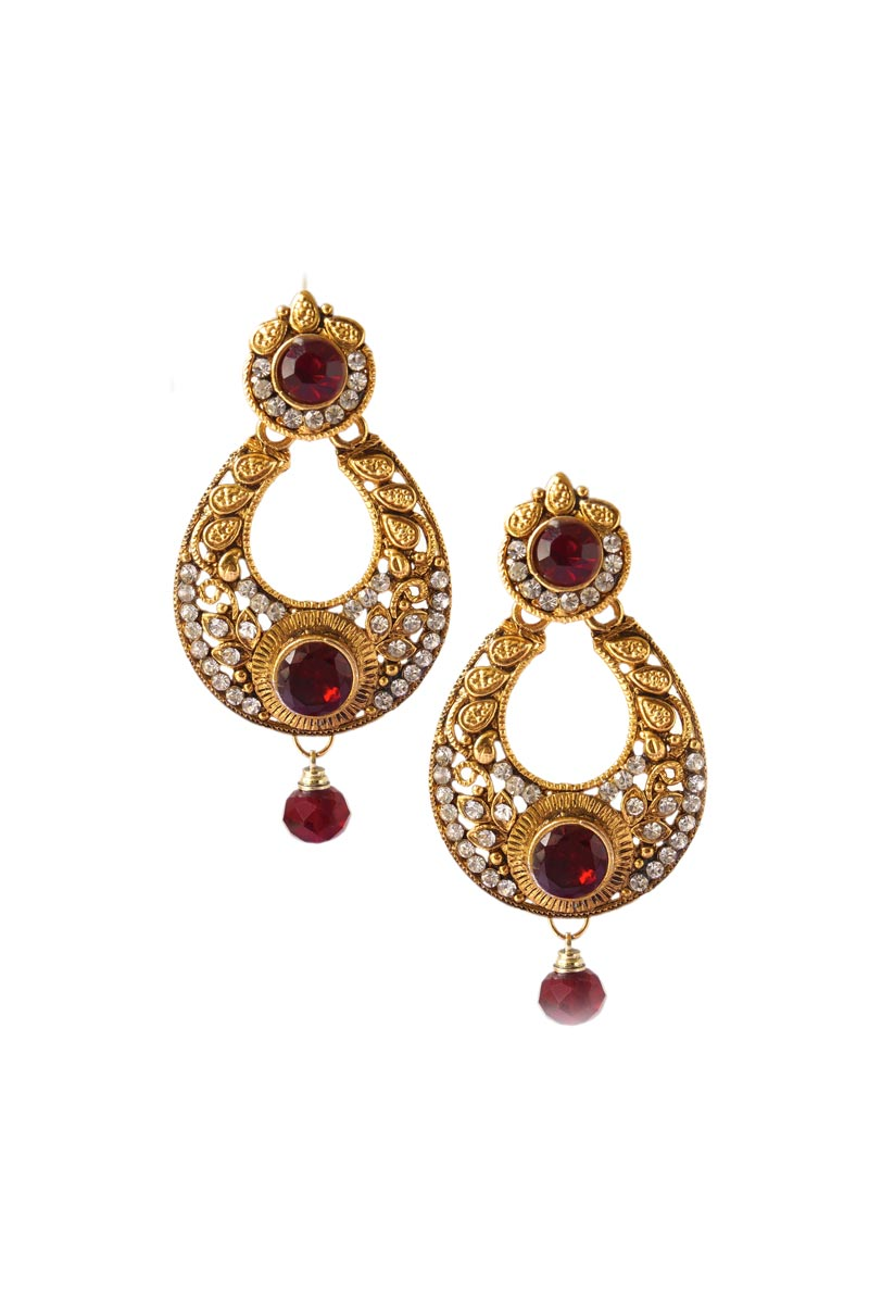 Maroon Designer Dangler Earrings In Alloy Metal