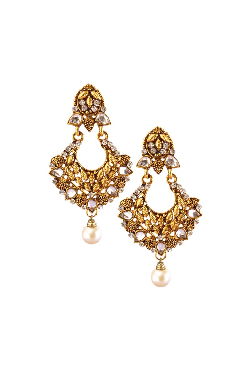 Eid Special Alloy Metal Fancy Dangler Earrings In White Color