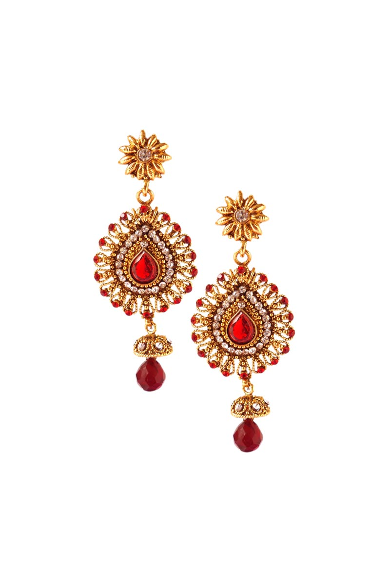 Alloy Metal Designer Dangler Earrings In Maroon