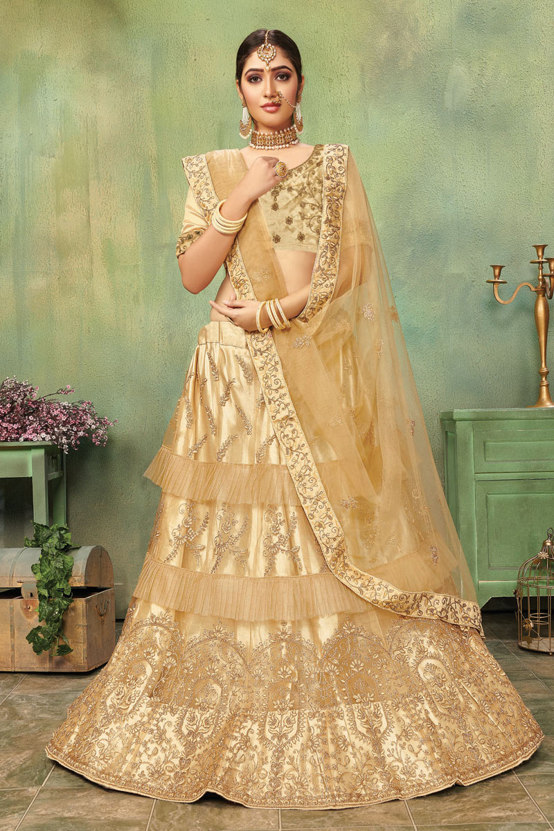 Embroidered Net Fabric Bridal Lehenga In Beige with Designer Choli