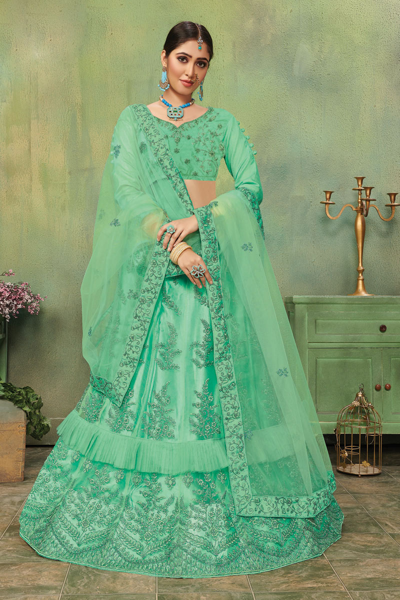 Sea Green Wedding Wear 3 Piece Lehenga In Net Fabric With Embroidery Work