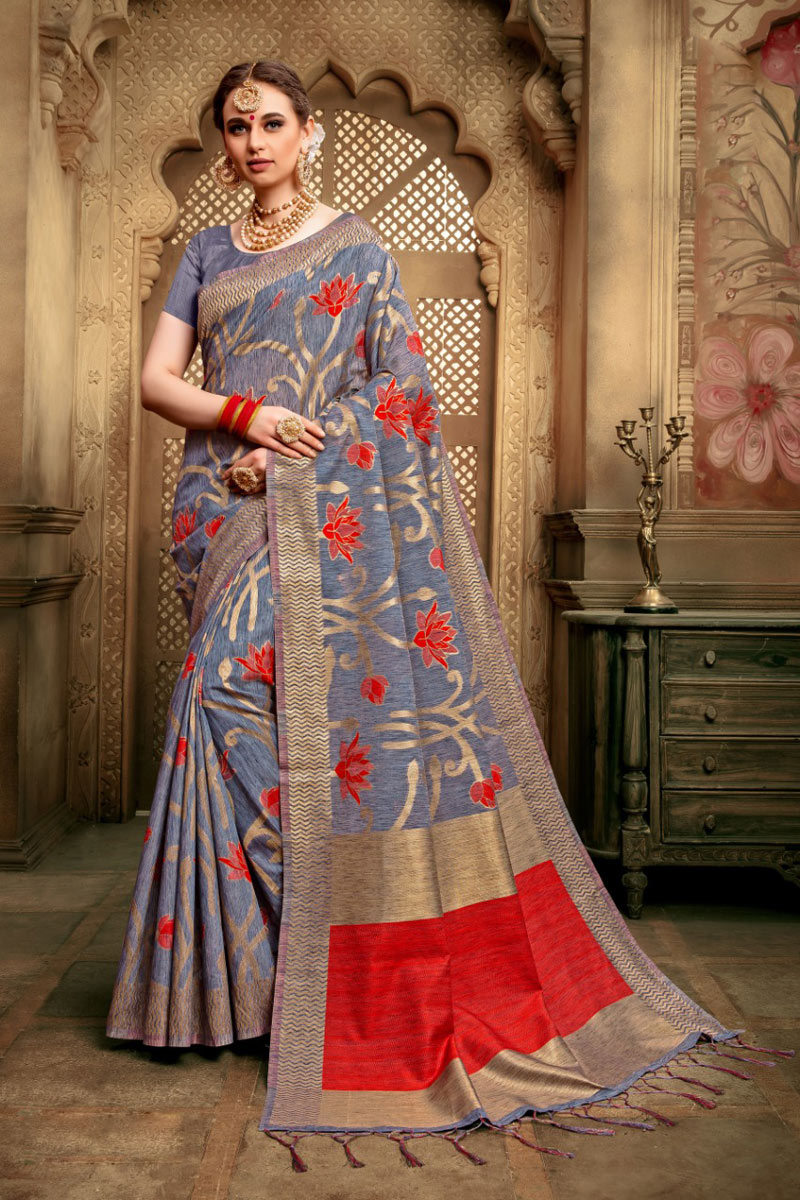 Weaving Work Designs On Cotton Silk Grey Color Party Wear Saree With Mesmerizing Blouse
