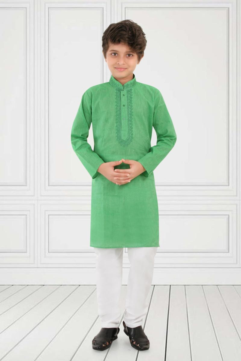 Eid Special Festive Wear Cotton Fabric Kurta Pyjama For Boys In Green Color