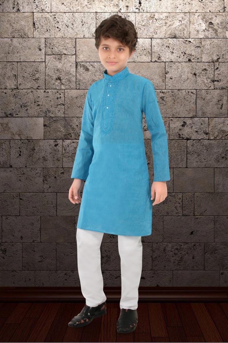 Sky Blue Color Festive Wear Cotton Fabric Kurta Pyjama Set For Boys