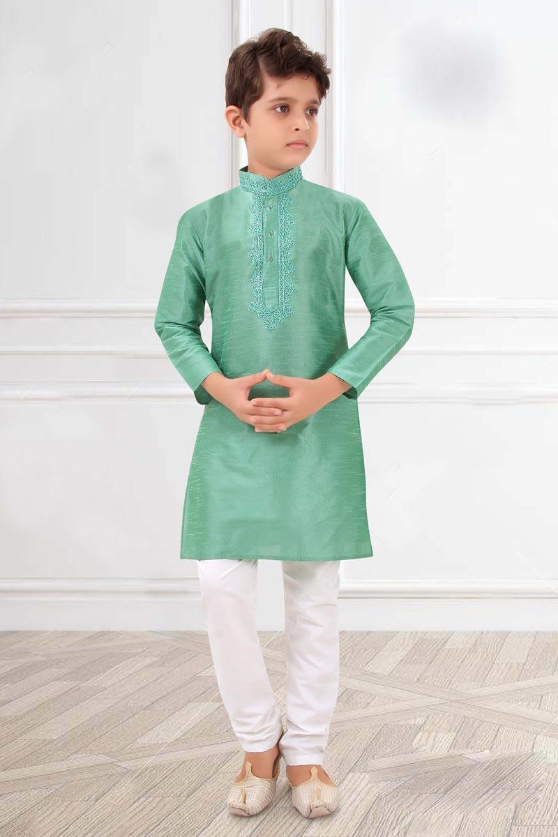 Eid Special Puja Wear Sea Green Color Art Silk Fabric Boys Kurta Pyjama Set