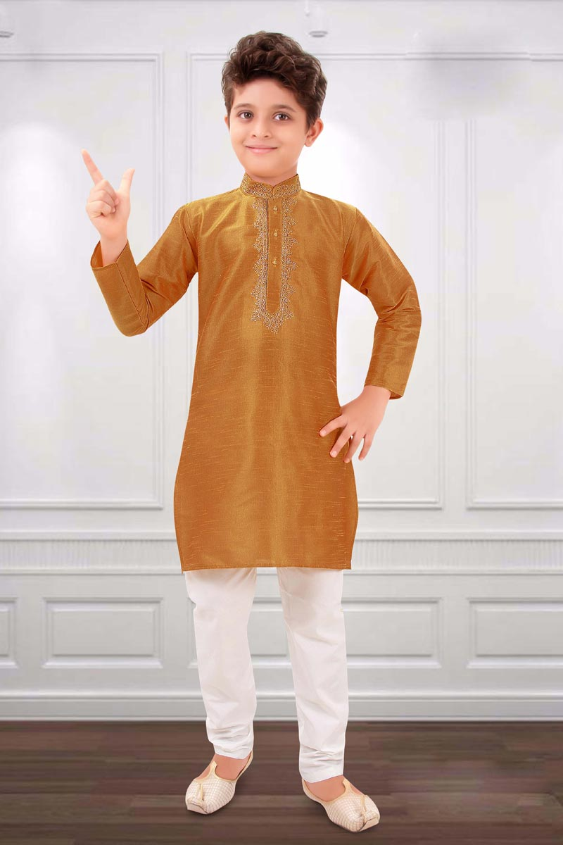 Art Silk Fabric Golden Color Festive Wear Boys Kurta Pyjama Set