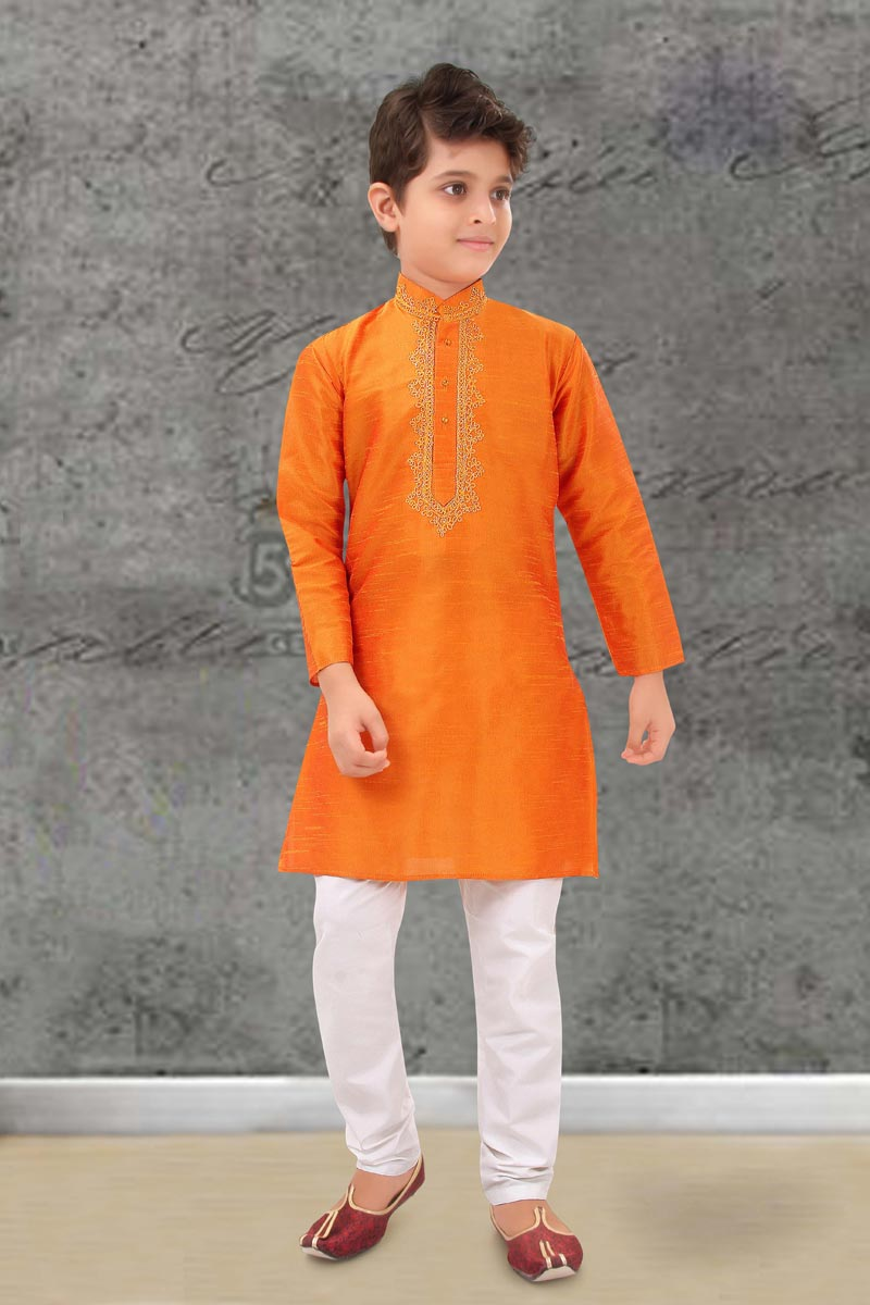 Festive Wear Art Silk Fabric Orange Color Kurta Pyjama For Boys