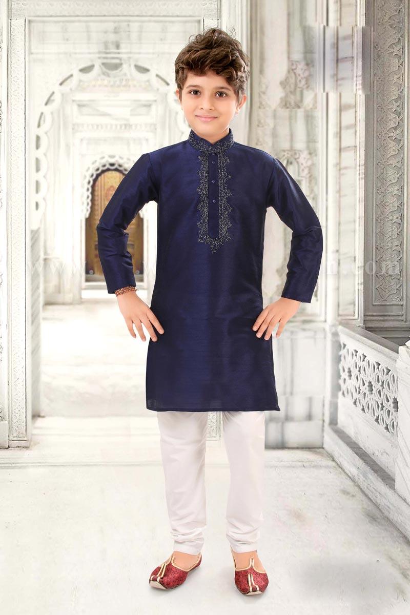 Eid Special Puja Wear Kurta Pyjama For Boys In Navy Blue Color Art Silk Fabric