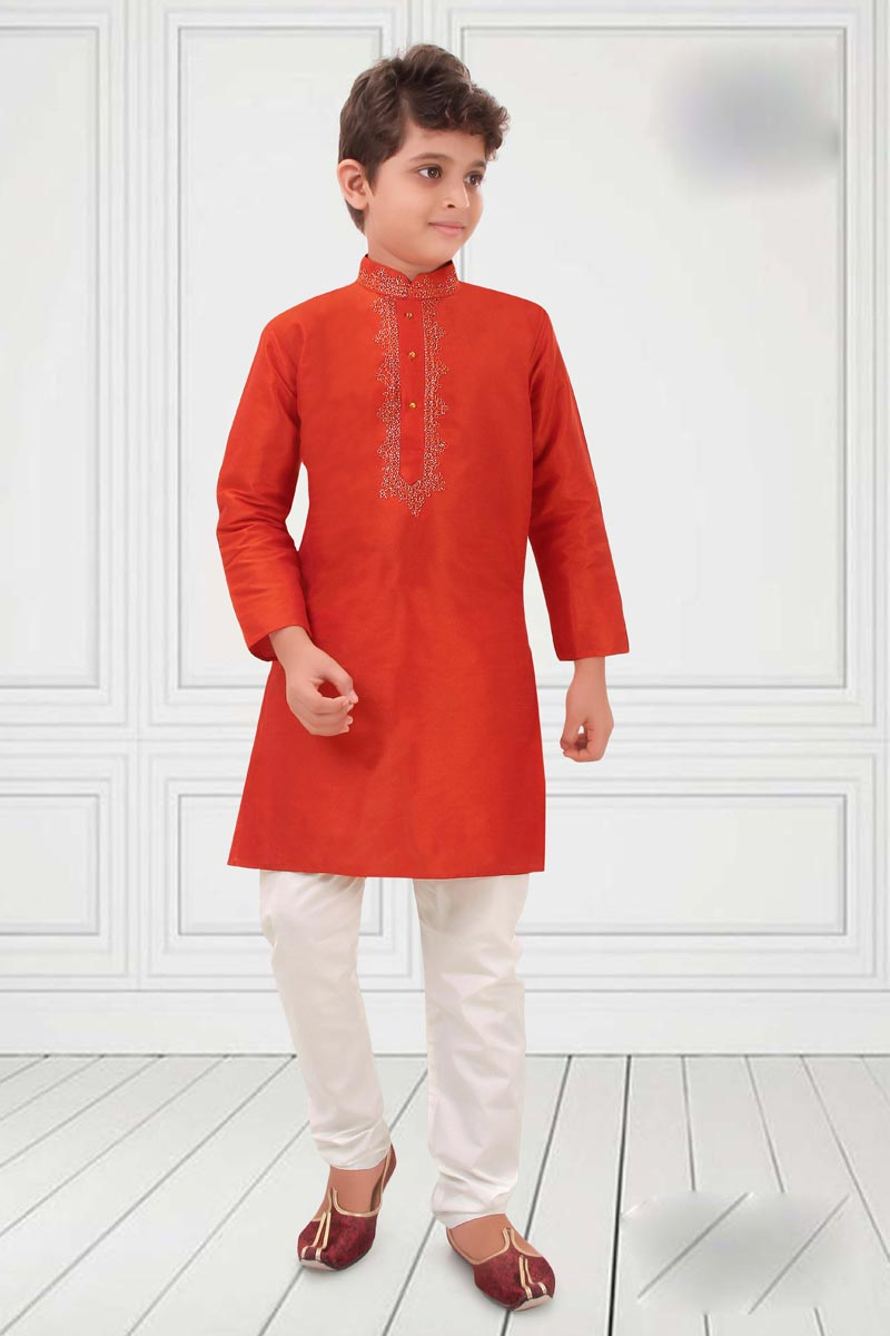 Festive Wear Red Color Art Silk Fabric Boys Kurta Pyjama Set