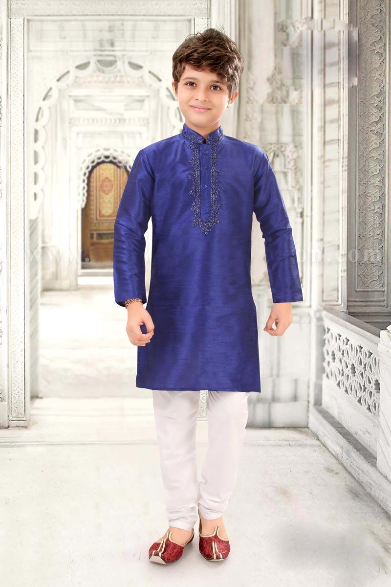 Festive Wear Kurta Pyjama For Boys In Blue Color Art Silk Fabric