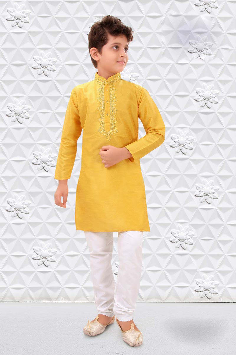 Puja Wear Art Silk Fabric Yellow Color Kurta Pyjama For Boys