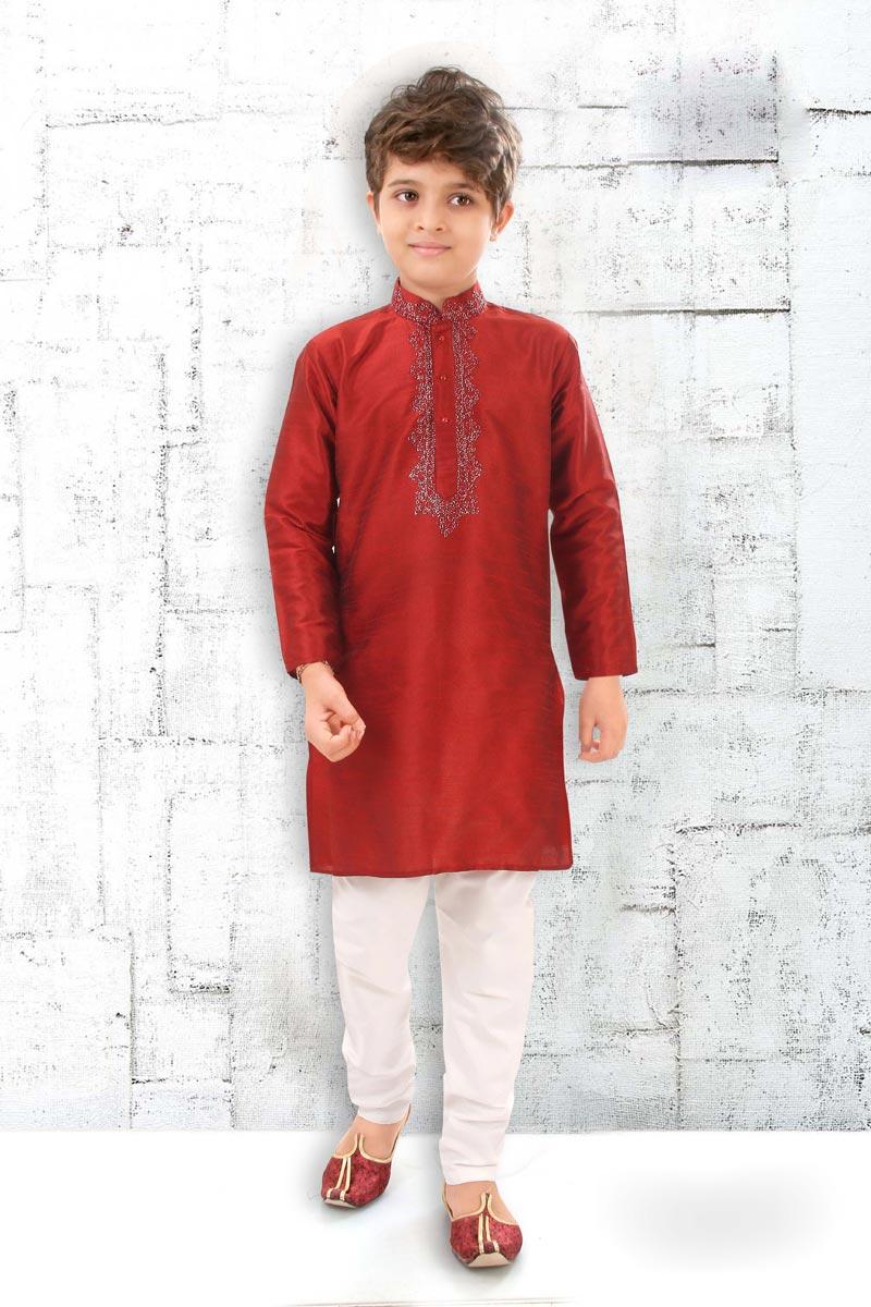Eid Special Festive Wear Maroon Color Kurta Pyjama For Boys In Art Silk Fabric