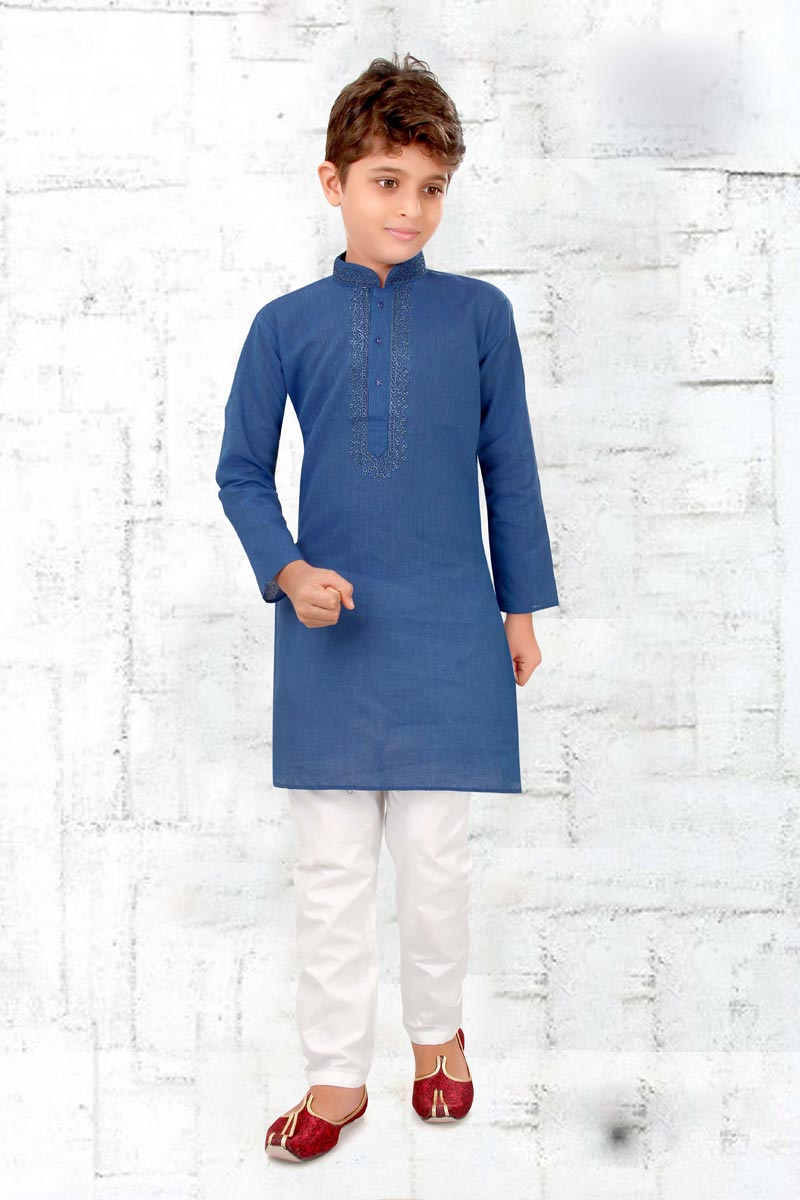 Eid Special Cotton Fabric Festive Wear Sky Blue Color Kurta Pyjama Set For Boys