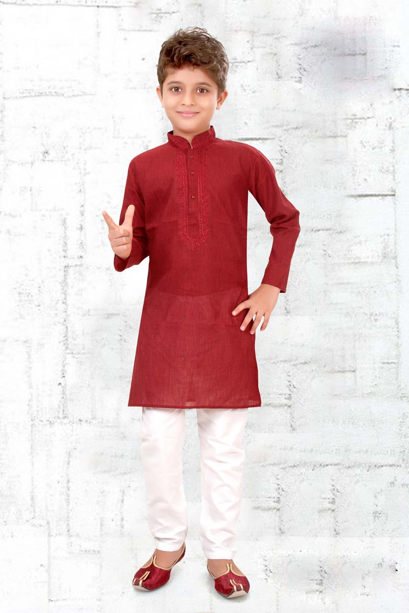 Eid Special Cotton Fabric Maroon Color Puja Wear Boys Kurta Pyjama Set