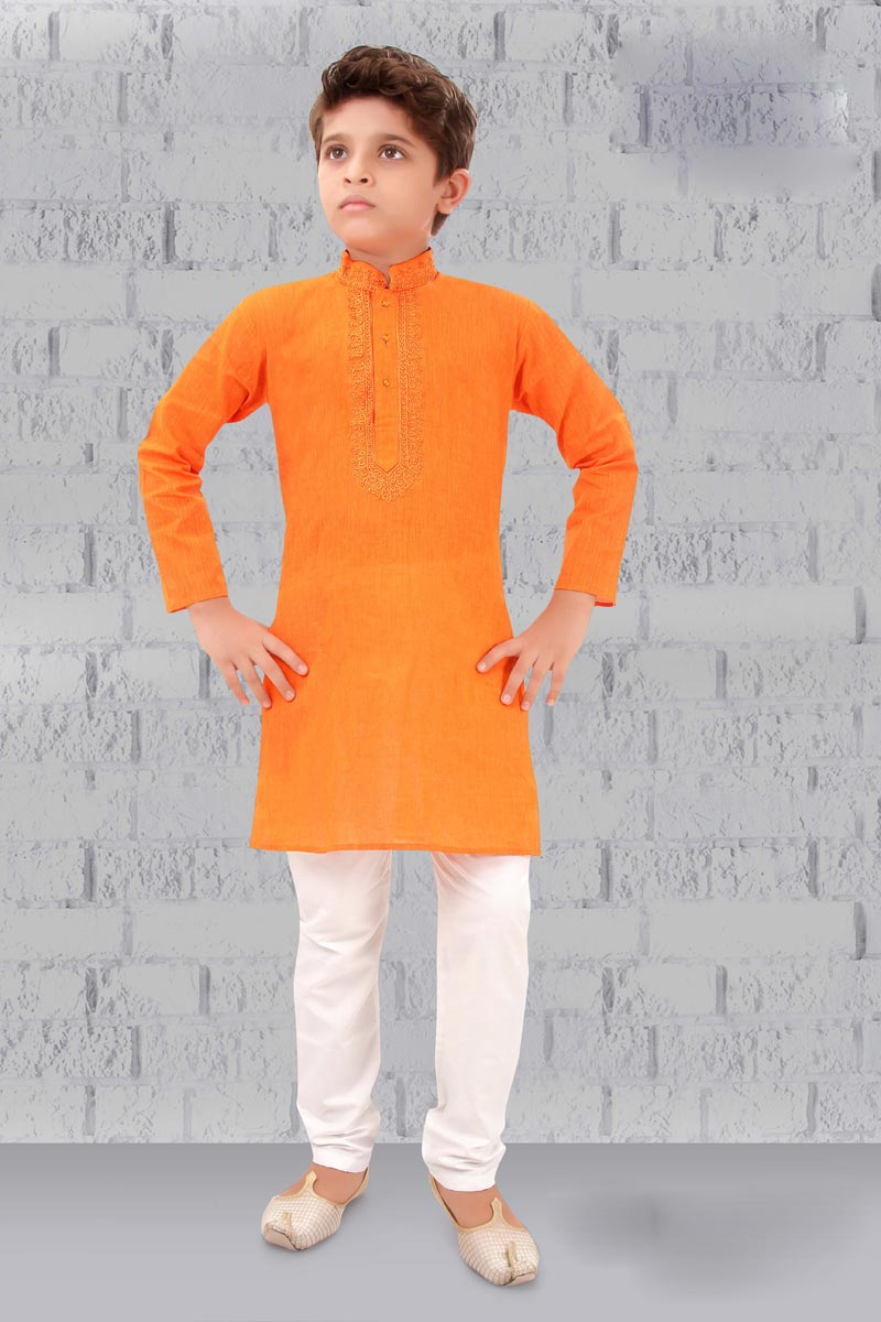 Eid Special Orange Color Cotton Fabric Festive Wear Boys Kurta Pyjama Set