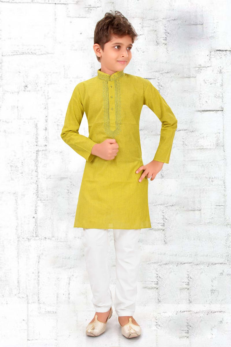 Eid Special Festive Wear Sea Green Color Cotton Fabric Kurta Pyjama For Boys