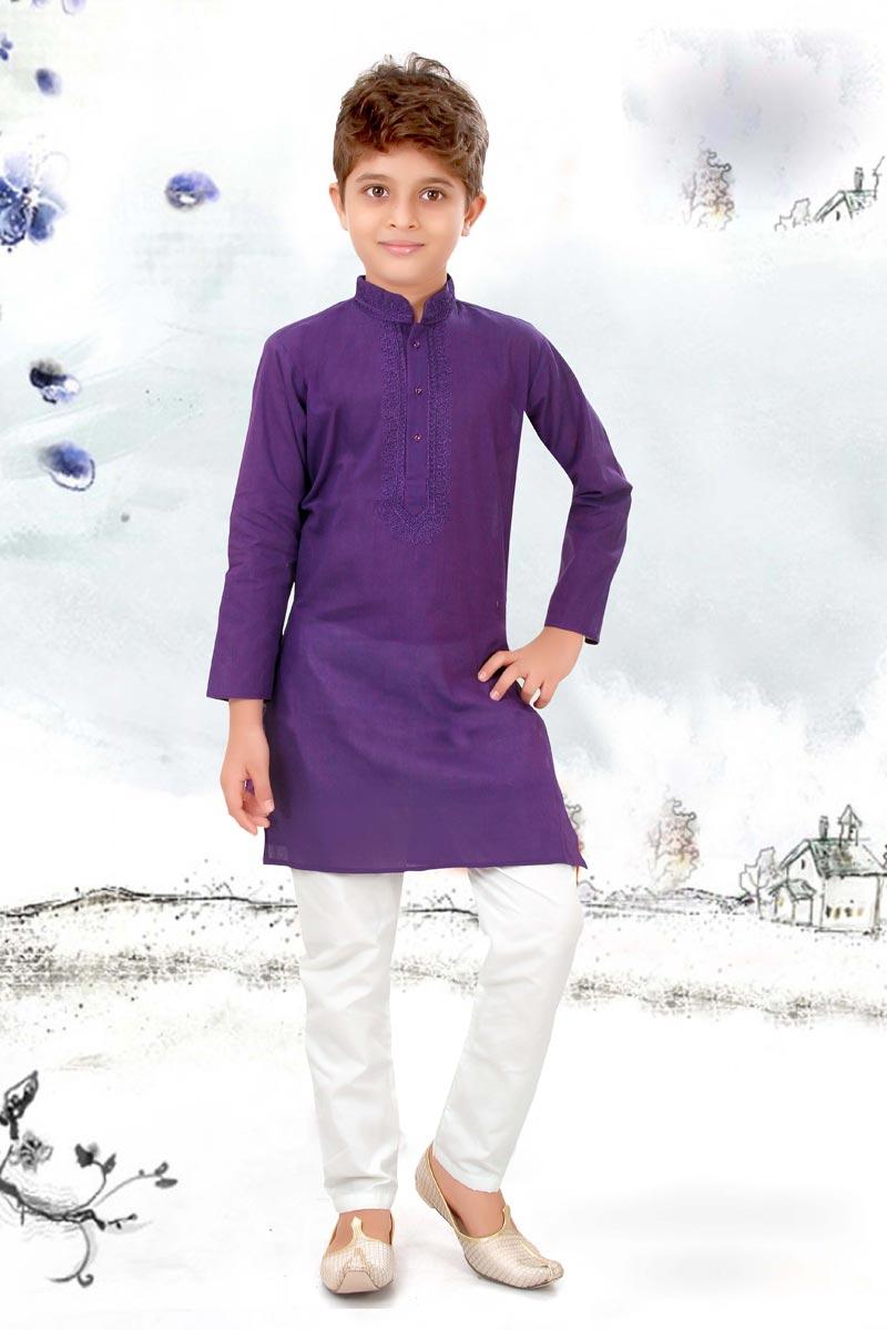 Eid Special Purple Color Puja Wear Cotton Fabric Kurta Pyjama Set For Boys