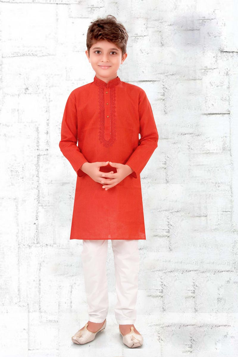 Festive Wear Cotton Fabric Red Color Boys Kurta Pyjama Set