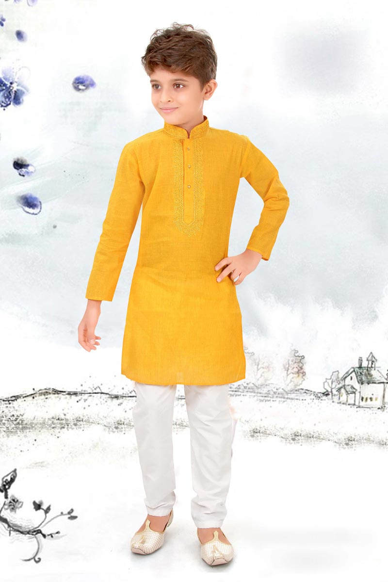 Eid Special Festive Wear Kurta Pyjama For Boys In Cotton Fabric Yellow Color
