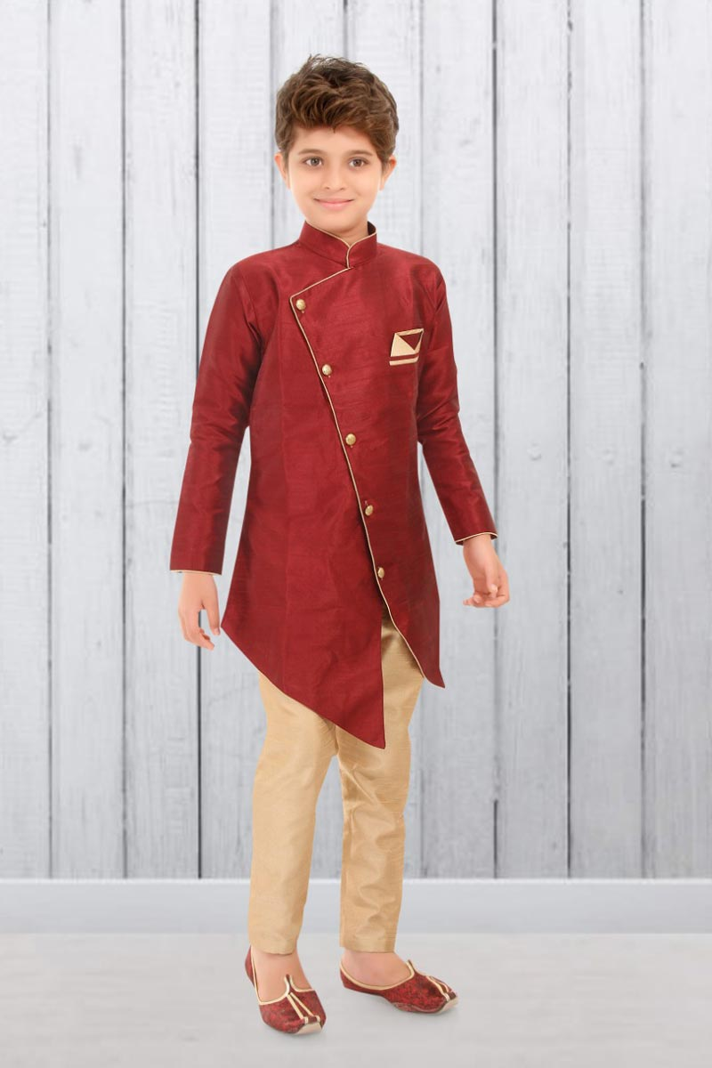 Traditional Wear Art Silk Fabric Indo Western For Boys In Maroon Color