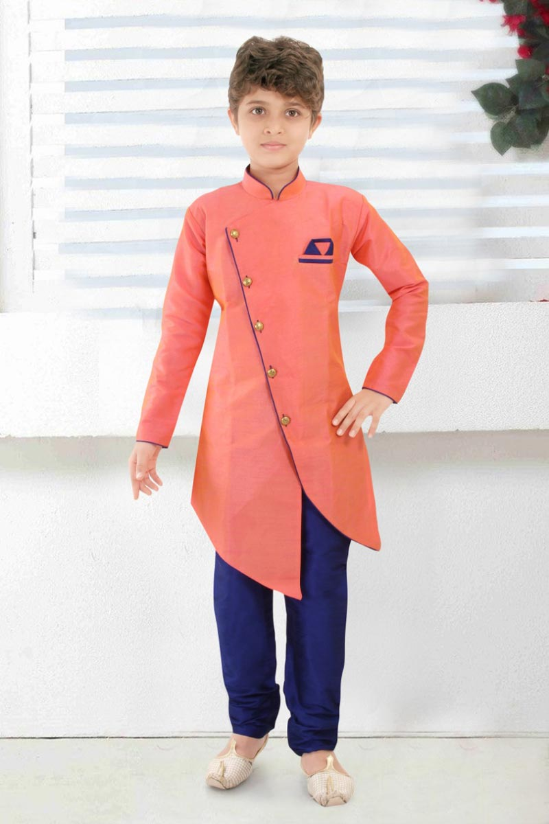 Peach Color Traditional Wear Art Silk Fabric Indo Western For Boys