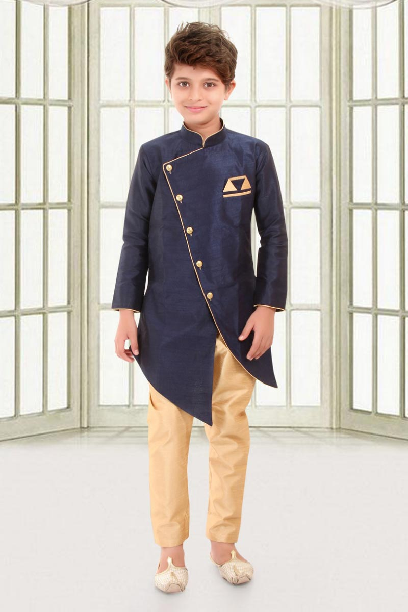 Eid Special Traditional Wear Art Silk Fabric Navy Blue Color Indo Western For Boys