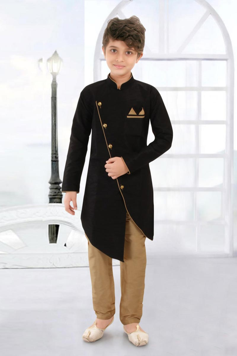 Eid Special Traditional Wear Black Color Art Silk Fabric Boys Indo Western