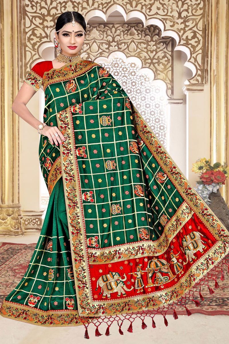 Art Silk Fabric Dark Green Color Wedding Wear Designer Panetar Saree