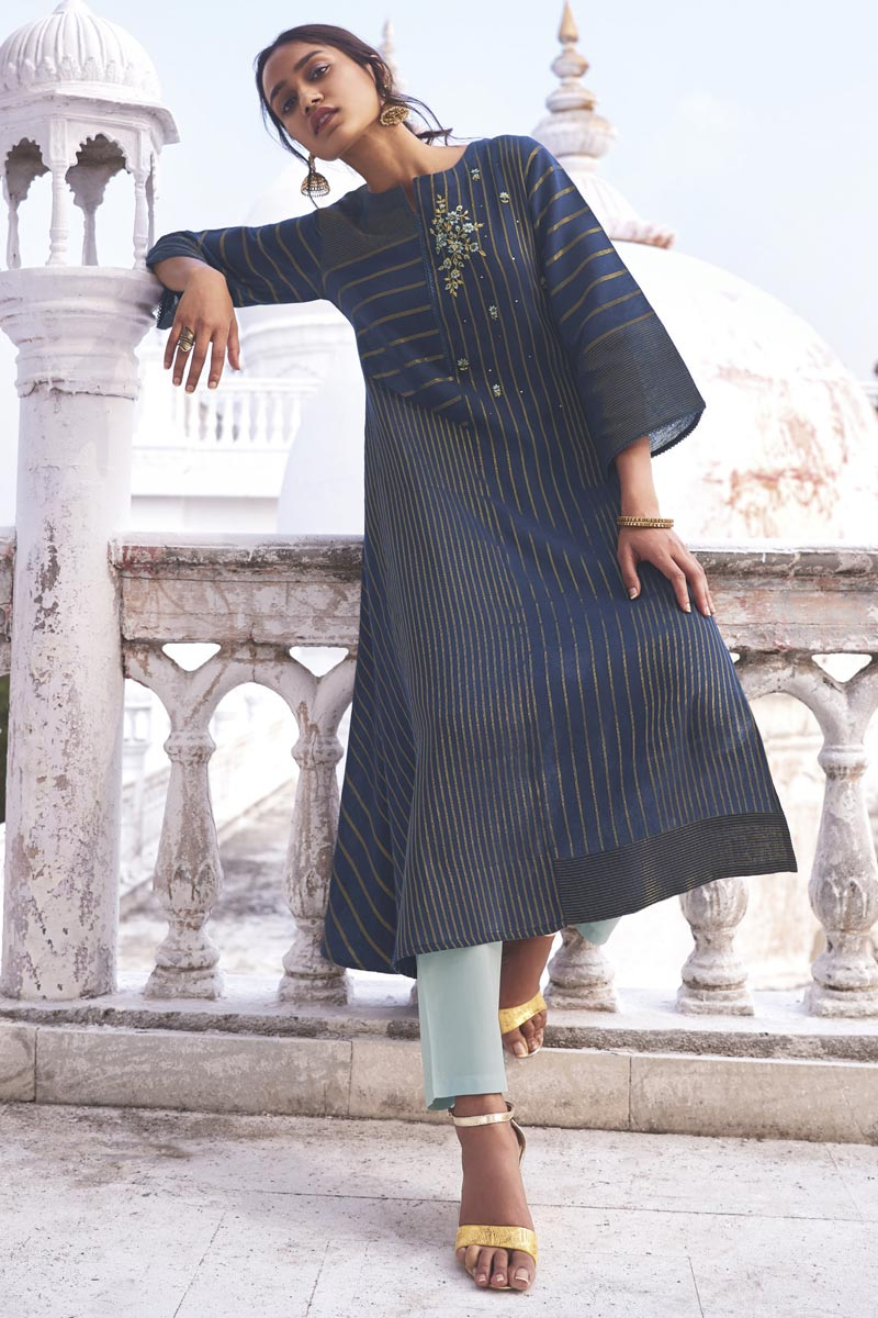 Function Wear Embroidered Designer Kurti With Bottom In Navy Blue Color Linen Cotton Fabric