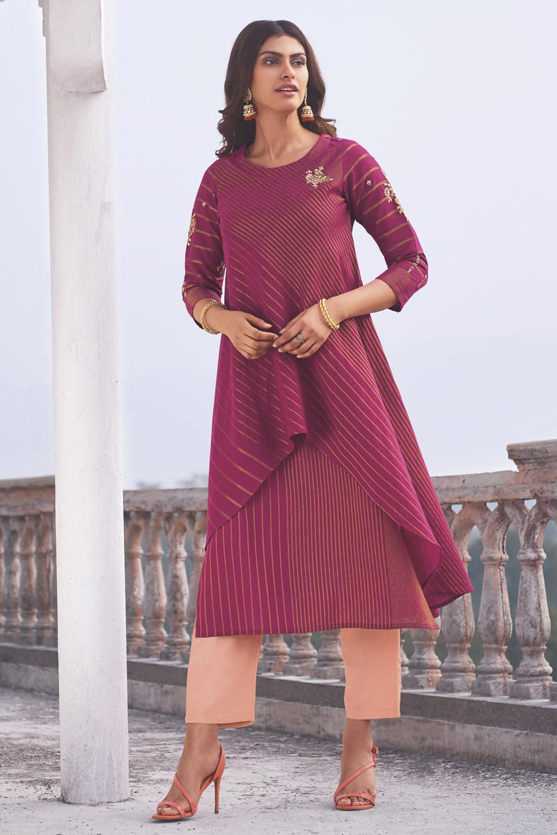 Linen Cotton Fabric Function Wear Rani Color Embroidered Designer Kurti With Bottom