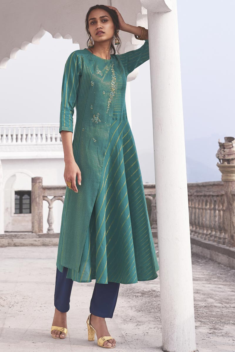 Cyan Color Function Wear Embroidered Designer Kurti With Bottom In Linen Cotton Fabric