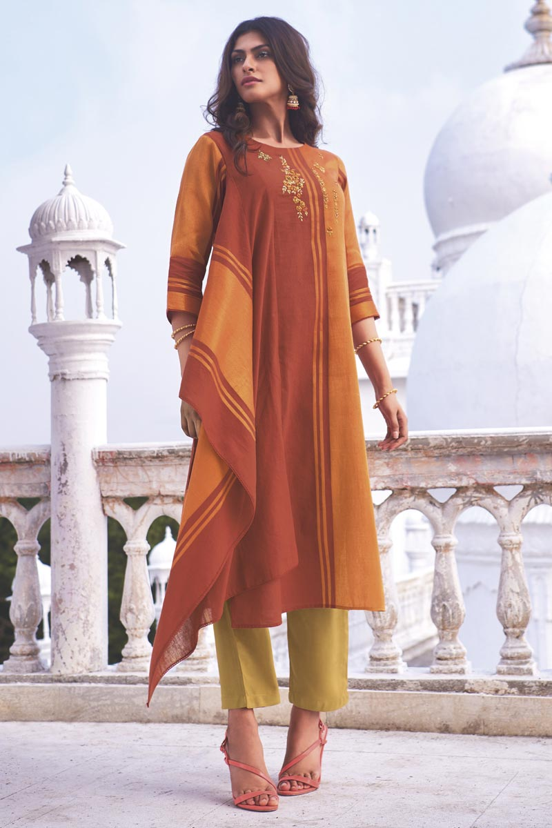 Function Wear Orange Color Linen Cotton Fabric Embroidered Designer Kurti With Bottom